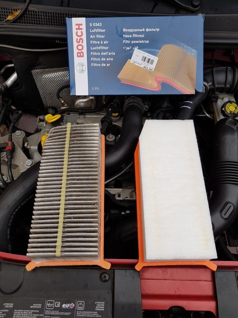 filtre à air neuf / usagé ancien Dacia Sandero 2 Tce 90